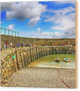 Clovelly Harbor Breakwater In Devon, Uk Wood Print
