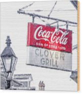 Clover Grill Coke Sign Wood Print