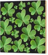 Clovers On Black Wood Print
