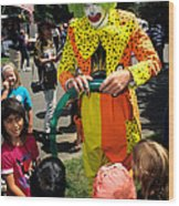 Clown Entertaining Kids Wood Print
