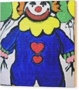 Clown For Jack Wood Print