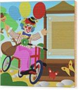 Clown Greeting Wood Print