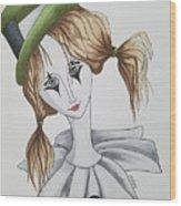 Green Hat Clown Wood Print