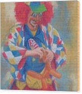 Clown Making Balloon Animals Wood Print