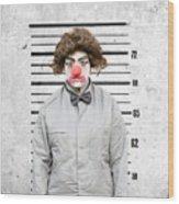 Clown Mug Shot Wood Print