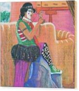clown on Taos plaza Wood Print
