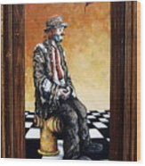 Clown S Melancholy Wood Print