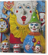 Clown Toys Wood Print by Garry Gay