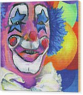Clown With Balloons Wood Print