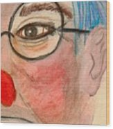 Clown With Glasses Wood Print