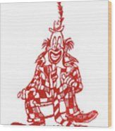 Clown With Mouse Wood Print