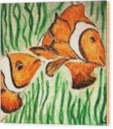 Clowning Fish Wood Print