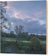 The Evening Is Fallen Over The Meadow Colouring The Sky Pink And Blue. Wood Print