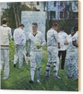 Club Cricket Tea Break Wood Print