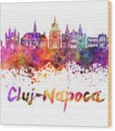 Cluj-napoca Skyline In Watercolor Splatter Wood Print