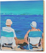 Clyde And Elma At The Beach Wood Print