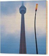 Cn Tower In Toronto With Red Streetlamp Wood Print