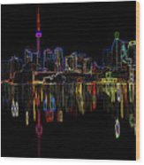 Cn Tower Outline Wood Print