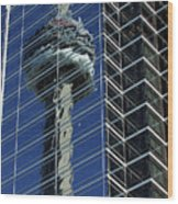 Cn Tower Reflected In A Glass Highrise Wood Print