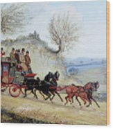 Coaching Oil Of A Royal Mail Coach Crossing Landscape Wood Print