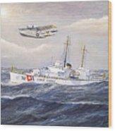 Coast Guard Cutter Pontchartrain And Coast Guard Aircraft  Wood Print