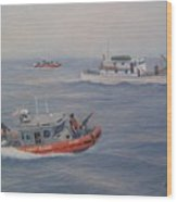 Coast Guard Nets Catch Of The Day Wood Print by William H RaVell III