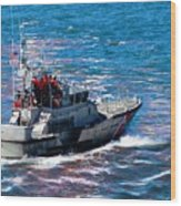 Coast Guard Out To Sea Wood Print by Aaron Berg