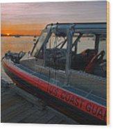 Coast Guard Response Boat At Sunset Wood Print