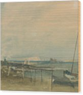 Coast Scene With White Cliffs And Boats On Shore Wood Print