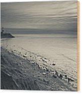 Coast With A Lighthouse Wood Print