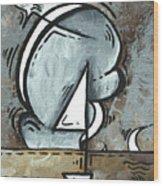 Coastal Art Contemporary Sailboat Painting Whimsical Design Silver Sea I By Madart Wood Print