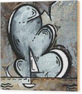 Coastal Art Contemporary Sailboat Painting Whimsical Design Silver Sea II By Madart Wood Print