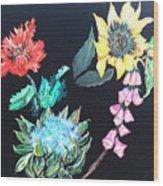 Coastal Floral Wood Print
