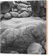 Coastal Granite In Black And White Wood Print
