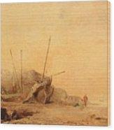 Coastal Landscape With Fisherfolk Wood Print