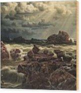 Coastal Landscape With Ships On The Horizon Wood Print