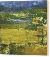 Coastal Marsh View Abstract Wood Print