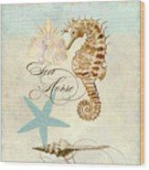 Coastal Waterways - Seahorse Rectangle 2 Wood Print