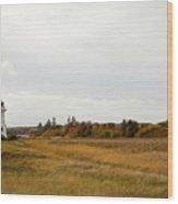 Coastline Of Prince Edward Island, Canada With Lighhouse Wood Print