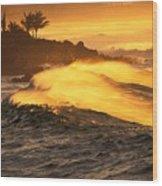 Coastline Sunset Wood Print