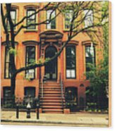 Cobble Hill Brownstones - Brooklyn - New York City Wood Print by Vivienne Gucwa
