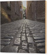 Cobbled Alley Wood Print