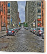 Cobblestone Brooklyn From Dumbo Wood Print