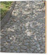 Cobblestone Path In A Park Wood Print