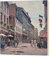 Cobblestone Streets In Old Montreal  Wood Print