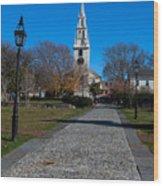 Cobblestone To Trinity Church Newport Rhode Island Wood Print