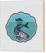 Cobia Fish Fishing Boat Bubble Retro Wood Print