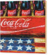 Coca Cola And Wooden American Flag Wood Print