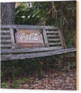Coca Cola Bench Wood Print