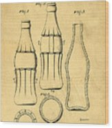 Coca Cola Bottle Patent Art 1937 Blueprint Drawing Wood Print